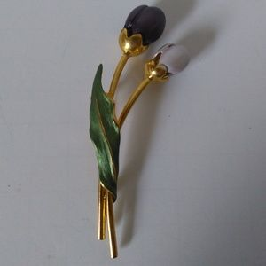 Vintage Brooch/Pin Purple Flowers Gold Accents